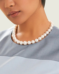 10-12mm White South Sea Pearl Necklace - AAA Quality - Model Image