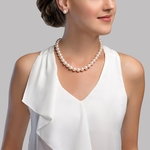 12-13mm White Freshwater Pearl Necklace - AAA Quality - Model Image
