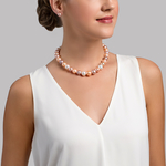 12-13mm Freshwater Multicolor Pearl Necklace - AAAA Quality - Model Image