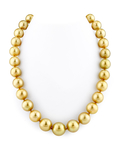 12-14mm Golden South Sea Pearl Necklace - AAA Quality