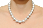 13-16.5mm White South Sea Pearl Necklace - GLA CERTIFIED AAAA Quality - Model Image