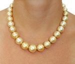13-15mm Golden South Sea Pearl Necklace - AAA Quality - Model Image