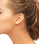 14mm Golden South Sea Pearl Stud Earrings- Choose Your Quality - Model Image
