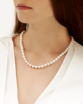 7.0-7.5mm Japanese Akoya White Pearl Necklace- AAA Quality - Model Image