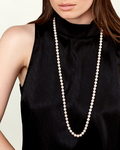 9-10mm Opera Length Freshwater Pearl Necklace - Model Image