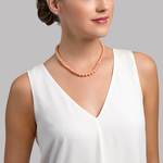 7-8mm Peach Freshwater Pearl Necklace - AAA Quality - Model Image