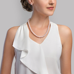8.5-9.0mm Hanadama Akoya White Pearl Necklace - Model Image