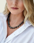 9-11mm Tahitian South Sea Baroque Pearl Necklace - Model Image