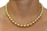 8-10mm Golden South Sea Pearl Necklace - AAA Quality - Model Image