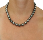8-10mm Dark Tahitian South Sea Baroque Pearl Necklace - Model Image
