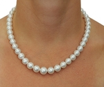 9-11mm White South Sea Pearl Necklace - AAAA Quality - Model Image