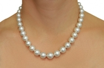 9-12mm White South Sea Pearl Necklace-AAAA Quality - Model Image