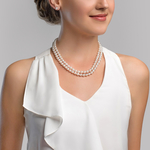 8-9mm Double Strand White Freshwater Pearl Necklace - Secondary Image