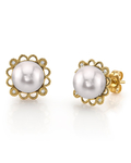 Japanese Akoya Pearl Lea Earrings - Model Image