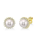 Akoya Pearl & Diamond Tessie Earrings - Model Image