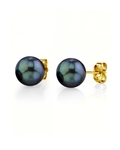 8.5-9.0mm Black Akoya Pearl Stud Earrings - Model Image