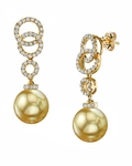 Golden Pearl & Diamond Link Earrings