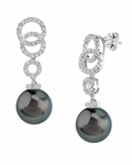 Tahitian South Sea Pearl & Diamond Link Earrings