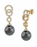Tahitian South Sea Pearl & Diamond Link Earrings - Model Image