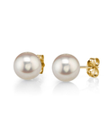 8mm White Freshwater Studs - Premiere Quality - Third Image