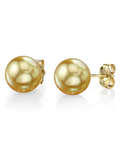 14mm Golden South Sea Pearl Stud Earrings- Choose Your Quality