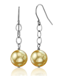 14K Golden Round Pearl Dangling Tincup Earrings - Secondary Image