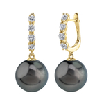 Tahitian South Sea Pearl & Diamond Belle Earrings - Model Image