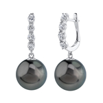 Tahitian South Sea Pearl & Diamond Belle Earrings