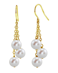 White Freshwater Pearl Cluster Earrings - Third Image