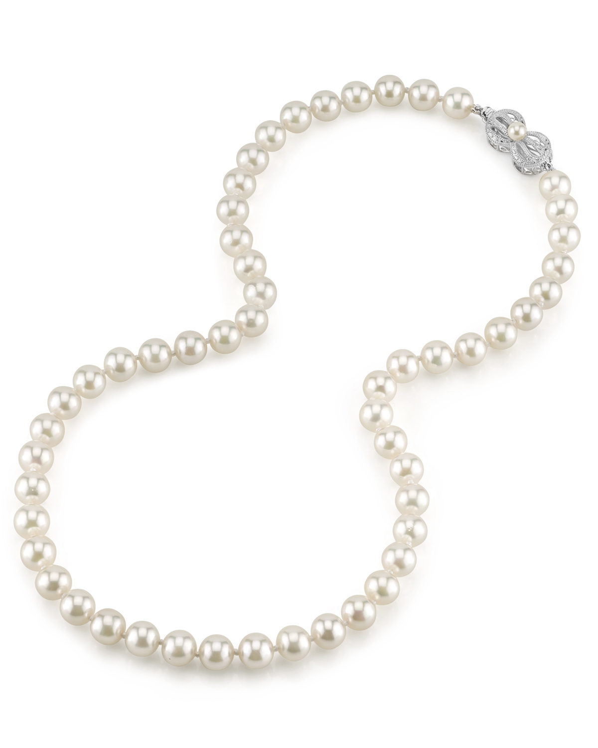 7.5-8.0mm Japanese Akoya White Pearl Necklace- AA+ Quality