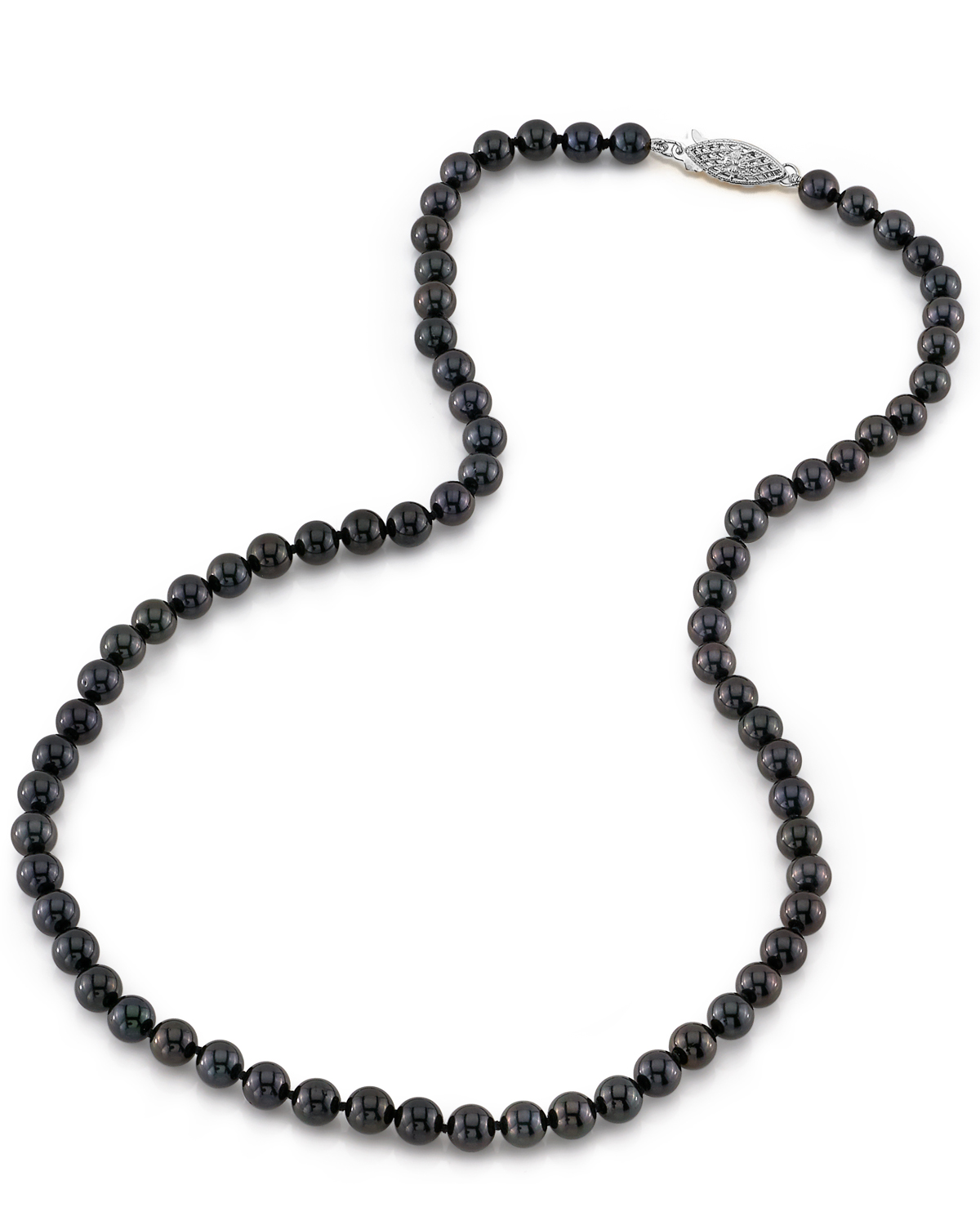 5.5-6.0mm Japanese Akoya Black Pearl Necklace- AAA Quality