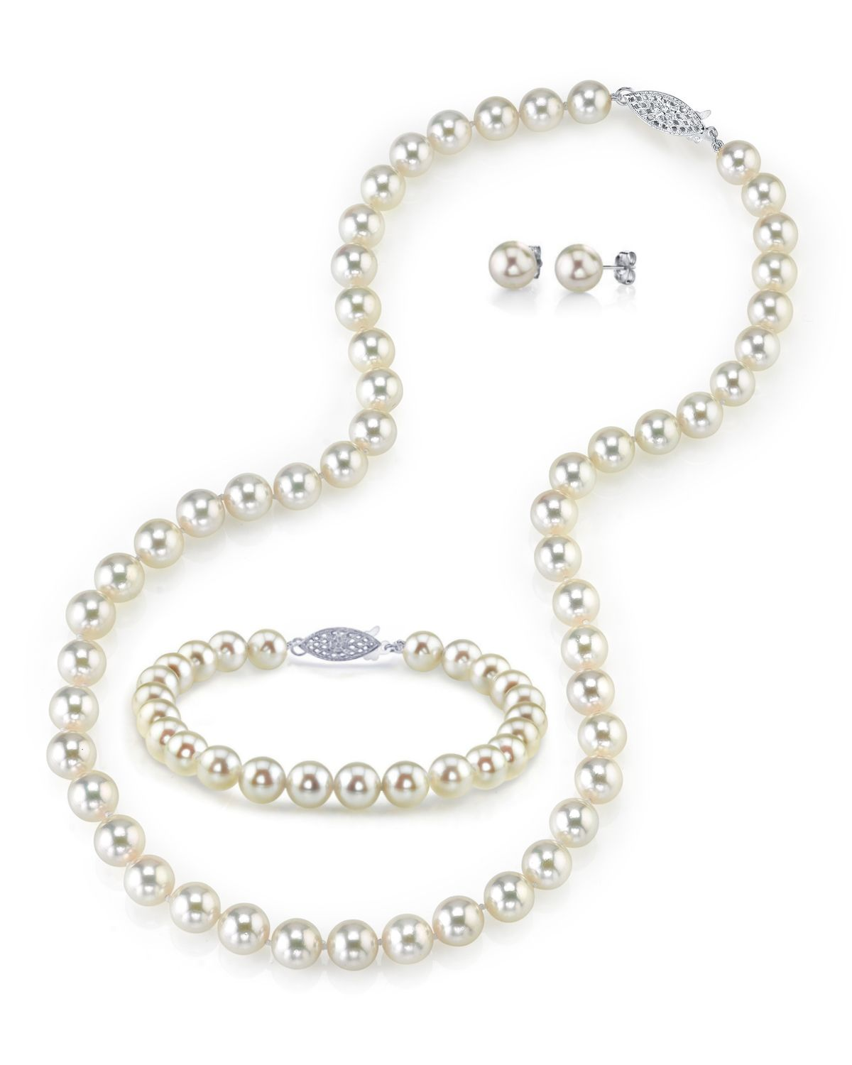 7.0-7.5mm Japanese Akoya White Pearl Set