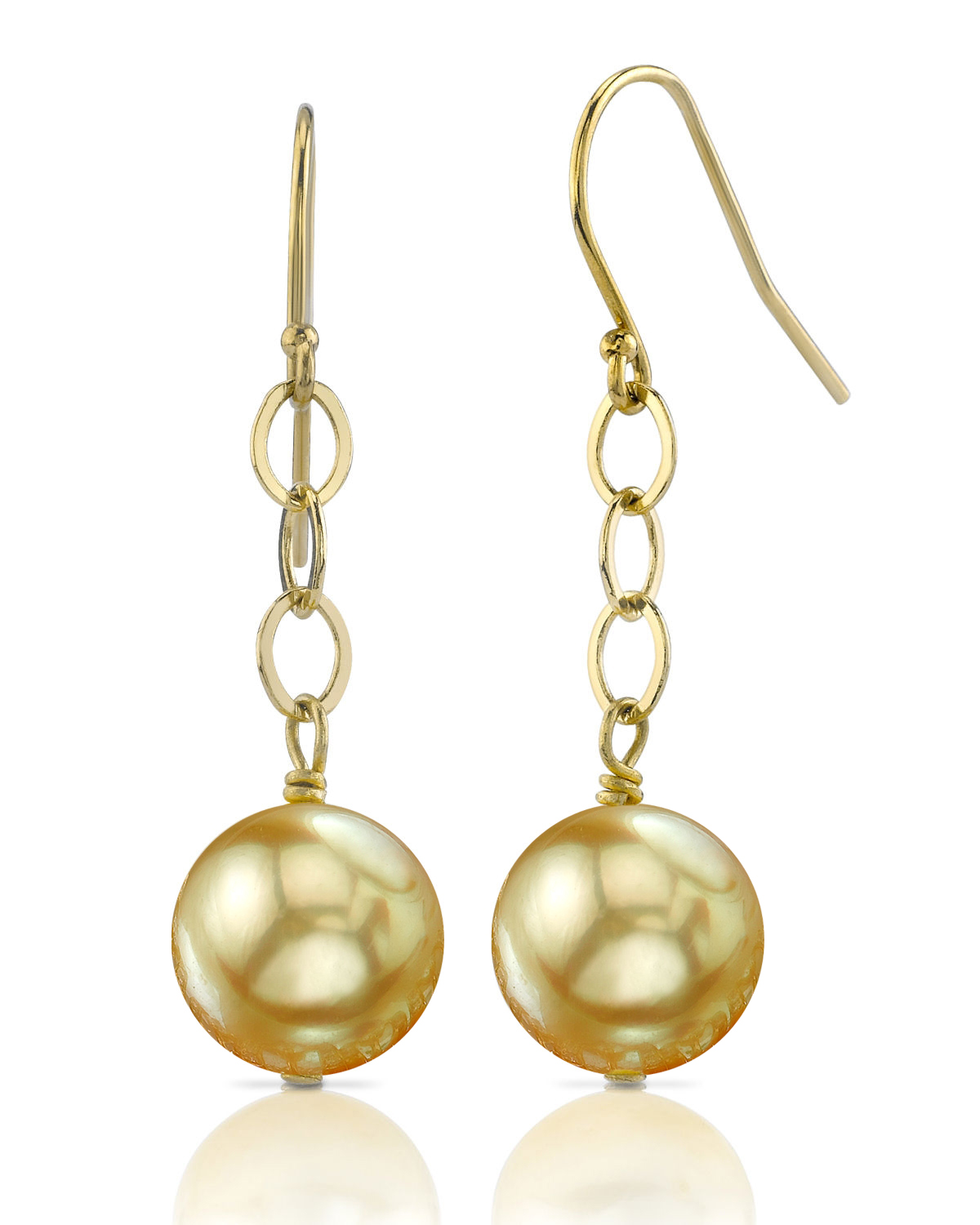14K Golden Round Pearl Dangling Tincup Earrings