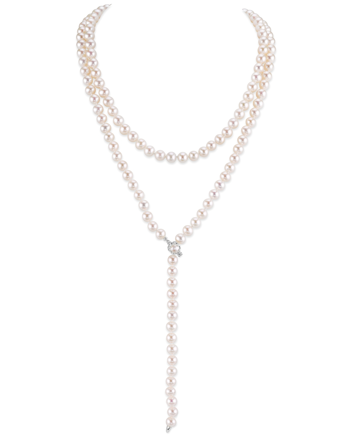 White Freshwater Pearl Adjustable Y-Shape 51 Inch Rope Length Necklace - AAAA Quality